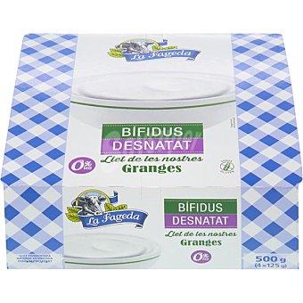 La Fageda Yogur natural desnatado con bifidus Pack 4 unidades x 125 g
