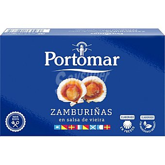 Portomar Zamburiñas en salsa de vieira de las rías gallegas lata 68 g Lata 68 g