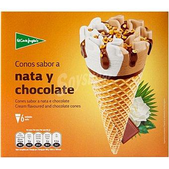 El Corte Inglés Conos de helado sabor nata y chocolate 6 unidades (720 ml)