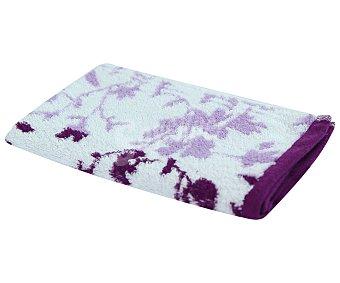 Actuel Toalla de tocador 100% algodón, /m² de densidad, color morado con diseño jacquard hojas 500g