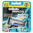 Mach3 - Cuchillas de recambio para maquinilla de afeitar 4 unidades Gillette