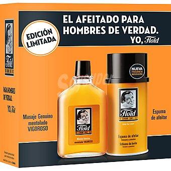 Floïd Estuche de afeitado con masaje mentolado vigoroso + espuma de afeitar hidratante y protectora