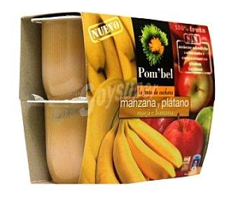 POM'BEL Puré de manzana-plátano, Sin: azúcar añadido, colorantes, conservantes, gluten ni lactosa Pack 4 Unidades de 100 Gramos