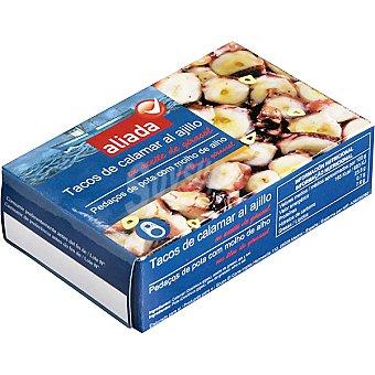 Aliada Tacos de calamar al ajillo en aceite girasol Lata 67 g neto escurrido