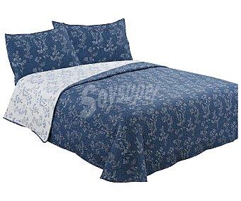 TEXTIL HOGAR Colcha boutí color azul con diseño ramas para cama doble, 100% microfibra, 240x270cm hogar
