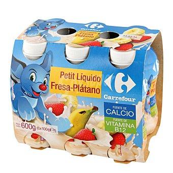 Carrefour Petit para beber de fresa y plátano Pack de 6x100gr