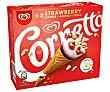 Conos de helado de leche, con salsa de fresa y chocolate blanco Pack 6 x 90 ml Cornetto Frigo