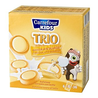 Carrefour Galleta Trio con chocolate blanco y corazón de leche 225 g
