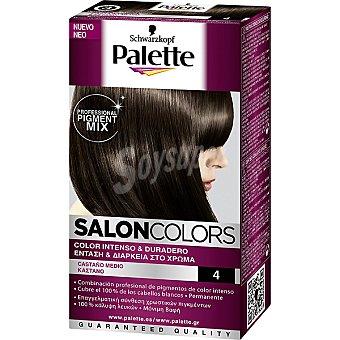 Schwarzkopf Palette Tinte nº 4 Castaño Medio color intenso y duradero Salon Colors Caja 1 unidad