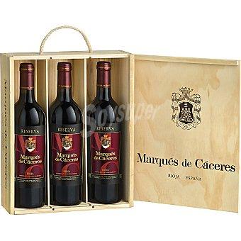 Marqués de Cáceres Vino tinto reserva D.O. Rioja caja de madera 3 botellas 75