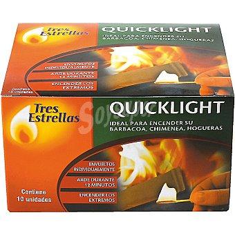 TRES ESTRELLAS Quicklight Pastillas Envueltas individualmente para encendido de barbacoas Envase 10 unidades