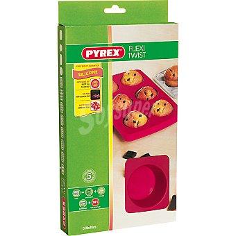 PYREX Flexi Twist Granate Molde de silicona magdalenas 6 cavidades