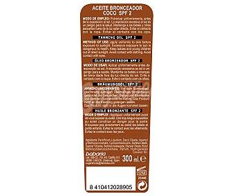 Babaria Aceite solar bronceador de coco en spray, con con factor de protección 2 (muy bajo) 300 ml