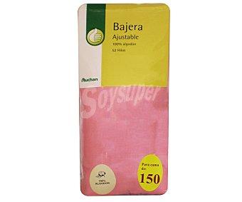 Productos Económicos Alcampo Sábana bajera ajustable 100% algodón para cama de 150 cm, color salmón 1 unidad