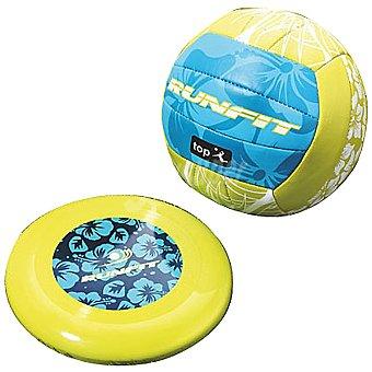RUNFIT set balón volley y disco color verde