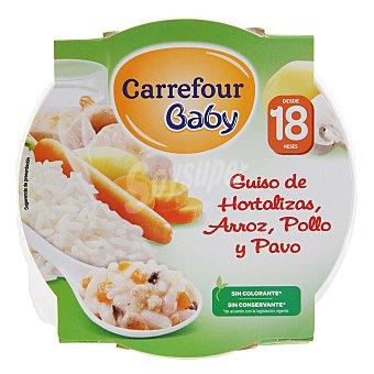 Carrefour Baby Guiso de hortalizas, arroz, pollo y pavo 260 g