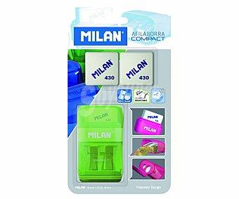 Milan Sacapuntas con 2 agujeros + borrador con soporte protector + 2 recambios borrador Compact Compact