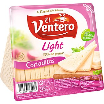 El Ventero Queso tierno cortaditas light - 30% de grasa sin gluten envase 250 g