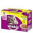 Comida para gatos adultos húmeda a base de pollo, pato y pavo 12 uds.100 g Whiskas