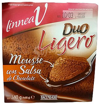 HACENDADO Mousse chocolate duo ligero (con salsa de chocolate) 4 unidades de 85 g (340 g)