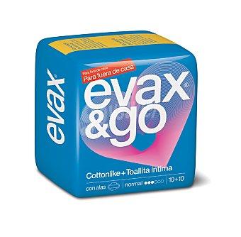 Evax Compresa con alas normal con toallita íntima Bolsa 10 unidades