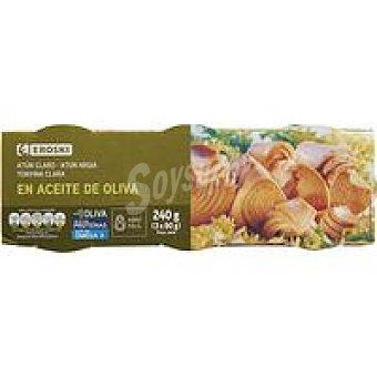 Eroski Atún claro en aceite de oliva Pack 3x80 g