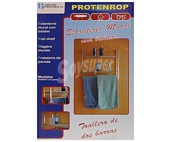 Protenrop Estantería mural con 2 baldas de plástico y toallero de 2 barras. Medidas: 43x42x21 centímetros 1u