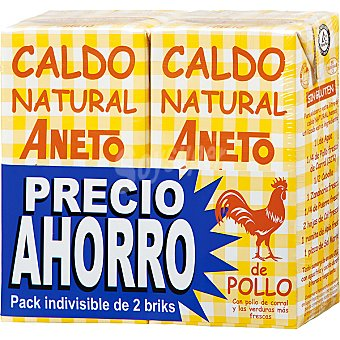 Aneto Caldo natural de pollo pack ahorro 2 envases de 1 litro
