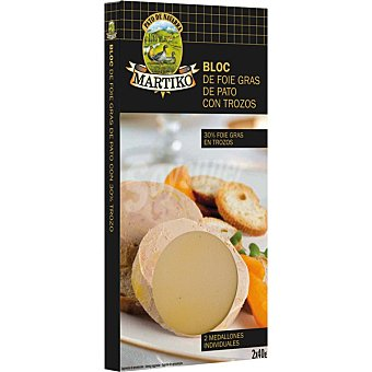 MARTIKO bloc de foie gras de pato con trozos 2 medallones de envase 80 g 40 g