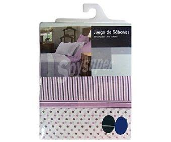 Auchan Juego de cama a rayas en color malva para cama de 80/90 cm 1 Unidad