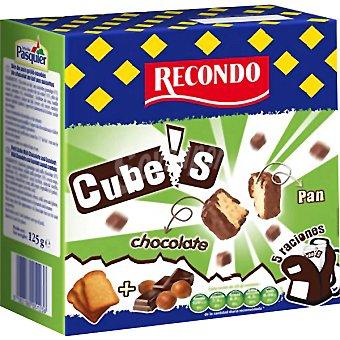 RECONDO CUBES pan tostado cubierto de chocolate con avellanas Estuche 125 g