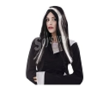 MY OTHER ME Complemento para disfraz Halloween, Pelucha de bruja negra con mechones blancos 1 unidad
