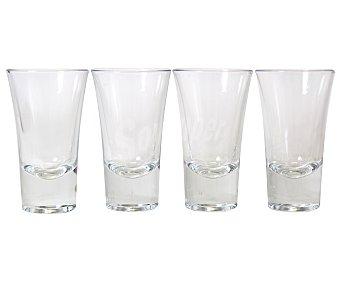 AUCHAN Pack de 4 vasos de chupito modelo Boston Shot, con capacidad de 6 centilitros y fabricados en cristal Pack de 4