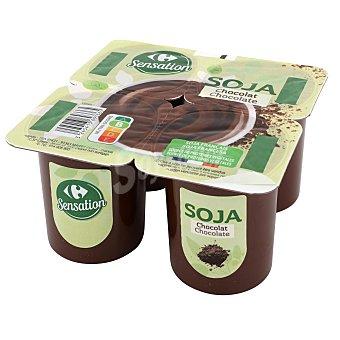 Sensation Postre de soja de chocolate Carrefour sin gluten Pack de 4 unidades de 100 g