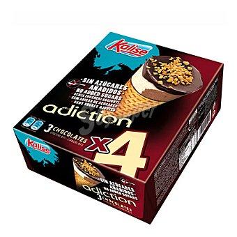 Kalise Helado cono Adiction 3 chocolates sin azucares añadidos 4 ud