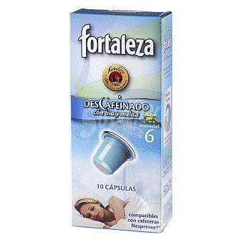 Fortaleza Café descafeinado con tila y melisa cápsulas compatibles con máquinas de café Nespresso 10 c