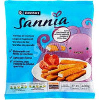 Eroski Sannia Varitas de merluza empanadas Bolsa 400 g