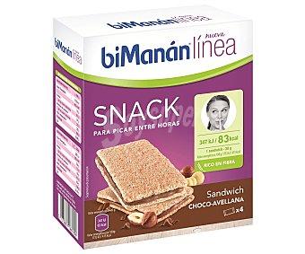 Bimanan Linea Sandwich de chocolate y avellana (snack para picar entre horas) Pack de 4 unidades de 20 g