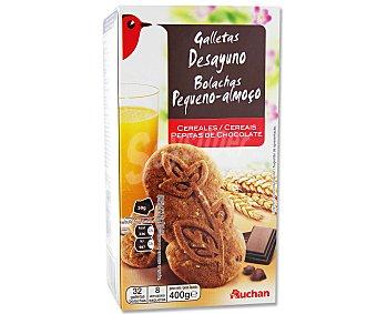 Auchan Galletas con cereales y pepitas de chocolate 400 gramos