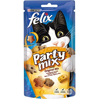 Purina Felix Party Mix snacks para gatos con sabor a pollo, hígado y pavo paquete 60 g Paquete 60 g