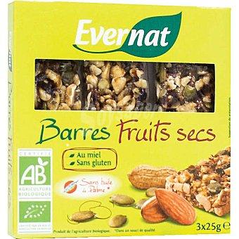 EVERNAT Barrita de frutos secos sin gluten y ecológica 3 unidades envase 75 g Pack de 3x25 g