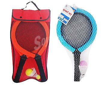 EURASPA Conjunto de 2 raquetas de badminton de 43x25x3 centímetros, con volante y bolsa de transporte 1 unidad