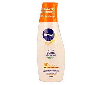Nivea Sun Leche solar para piel sensible, resistente al agua con factor protección 50 (alta) 200ml x 2u