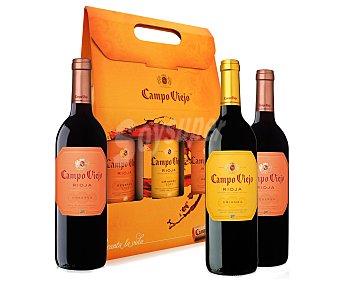 CAMPO VIEJO Estuche 2 botellas de vino reserva con denominación de origen Rioja + 1 botella de vino crianza con denominación de origen Rioja 75 centilitros