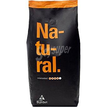 BURDET Café natural en grano aroma intenso 60% arábica y 40% robusta Paquete 1 kg