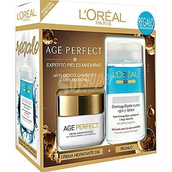 Age Perfect L'Oréal Paris Crema hidratante de día anti-descolgamiento + antimanchas + desmaquillante suave de ojos y labios de regalo Tarro 50 ml
