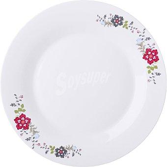 Unit Meda plato llano 27 cm blanco con flores
