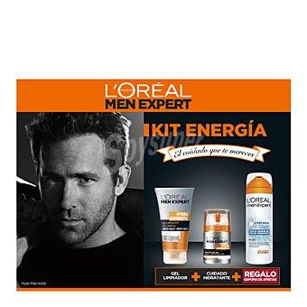 Men Expert L'Oréal Paris Kit Energía hydra energetic (gel limpiador + cuidado hidratante + espuma afeitar) 1 unidad