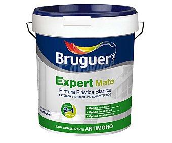 BRUGUER Pintura plástica mate para interior y exterior, con conservante antimoho, lavable y de color blanco, de la serie Expert 4 Litros