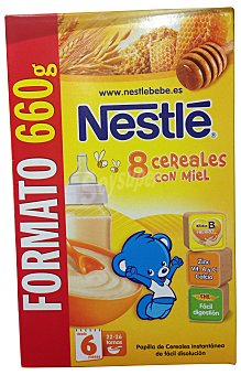 NESTLE Papilla en polvo de 8 cereales con miel a partir de 6 meses Caja de 660 g